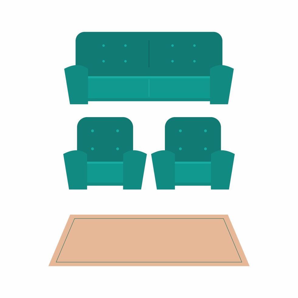 uppsättning soffa. samling av stol och soffor tecknade platt möbler med olika modeller av soffa ikoner. bekväm lounge för inredningsdesign isolerad på vit bakgrund. vektor illustration