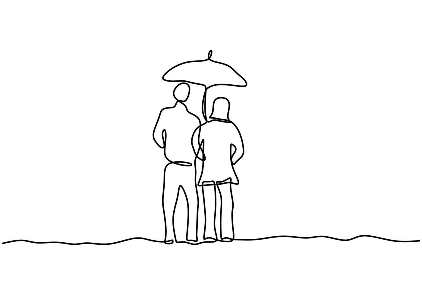 kontinuerlig linje ritning av par i kärlek under paraply. en man och kvinna under paraplyet tillsammans från regnet under dem. begreppet romantiskt ögonblick av regn. vektor för alla hjärtans dag