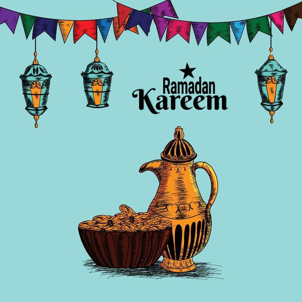 ramadan mubarak hand rita inbjudan bakgrund vektor