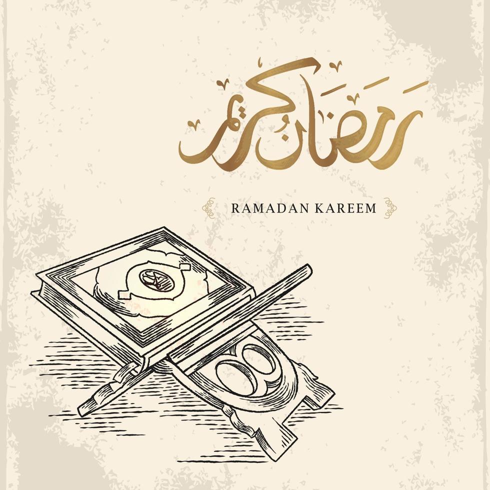 Ramadan Kareem Grußkarte mit handgezeichneter Koranskizze und goldener arabischer Kalligraphie bedeutet heiligen Ramadan lokalisiert auf weißem Hintergrund. vektor
