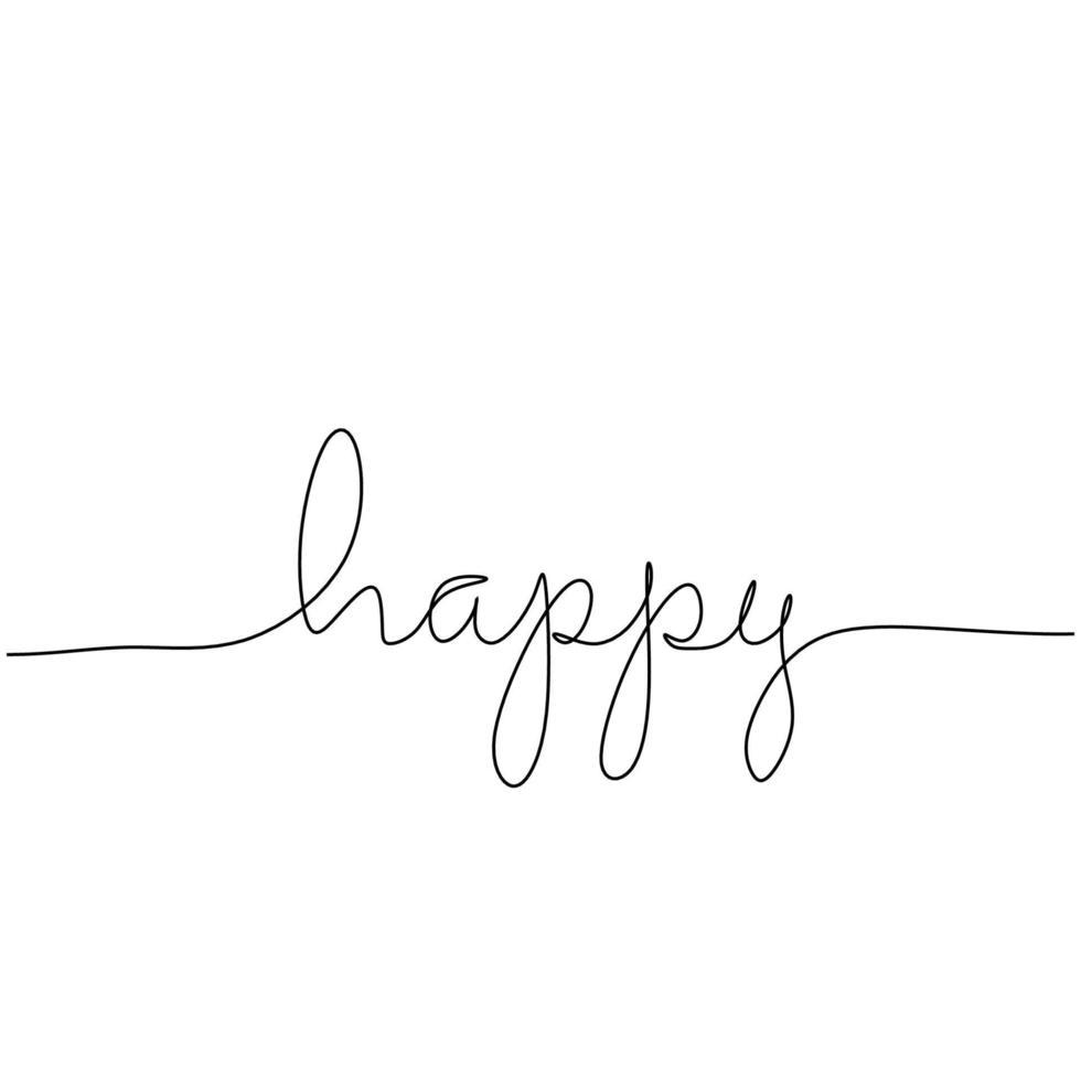 fortlaufende einzeilige Zeichnung eines glücklichen Wortes. handgeschriebenes Beschriftungskonzept lokalisiert auf weißem Hintergrund. vektor