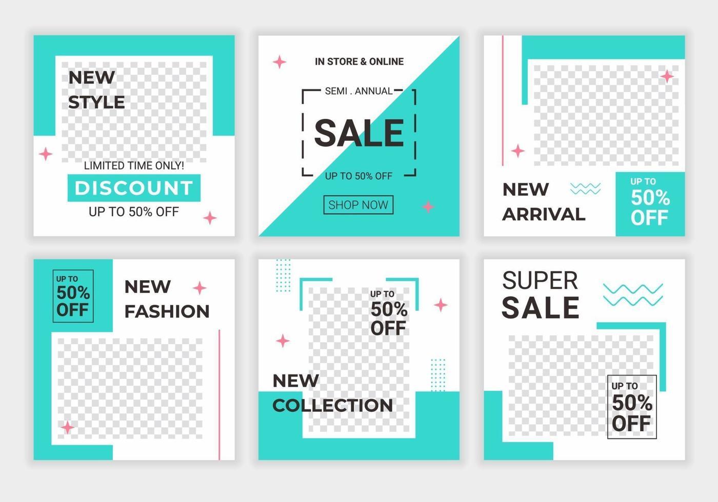 enkel kreativ färgglad social media postmall. minimalistiskt koncept för en bok, babybutik, mode, leksaker och mat. sociala medier matas med blå och vit färg. rabatt promo försäljning vektor