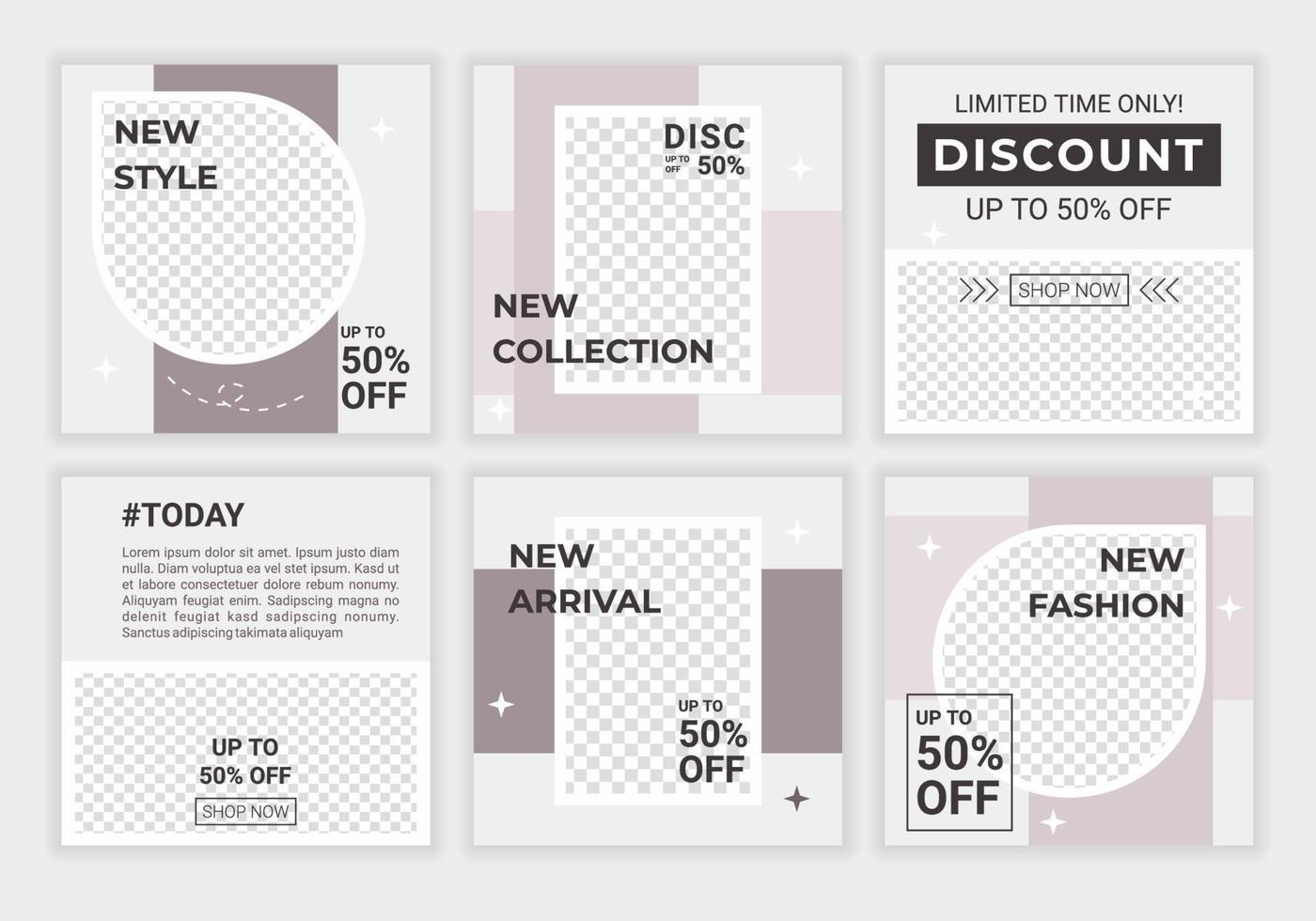 pastellfärgade sociala medier postar mallar med plats för foto i minimal stil med ljusgrå för mobilappar, webbbanners. marknadsföringsmall med modern stildesign. vektor illustration