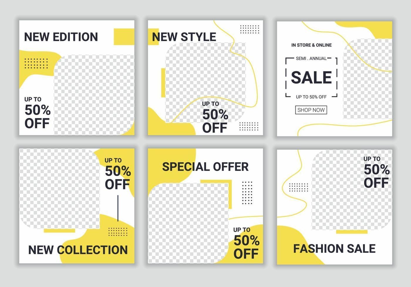 bilder abstrakt redigerbar modern social media banner mall i gul och vit färg. bakgrundsdesign med kopieringsutrymme för text och bilder. elegant försäljning och rabattkampanj. vektor illustration