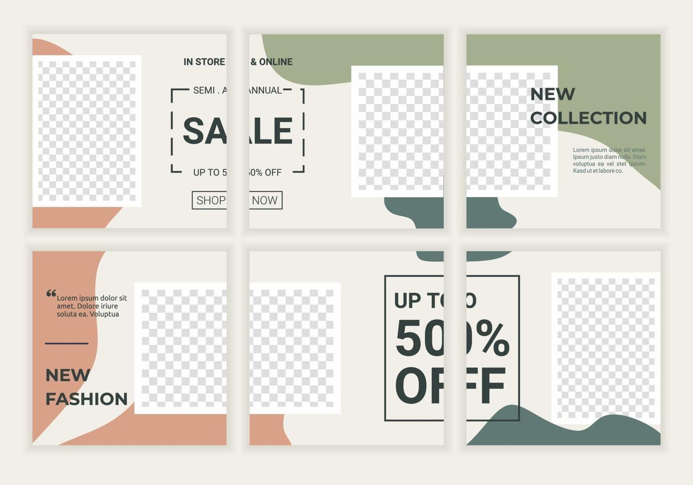 uppsättning redigerbar fyrkantig banner för annonsörsmall. perfekt för reklam och varumärke en modebutik, make up butik, hudvård butik. vektor illustration bakgrund med pastellfärg ram