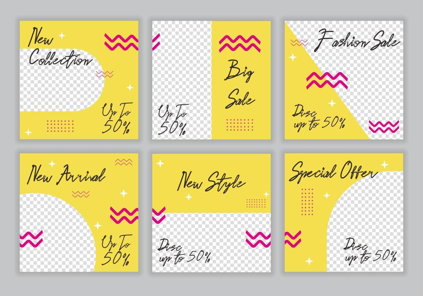 hej sommar rabatt försäljning special. banner bakgrund design mall set pack samling. marknadsföringskampanj med färgglada gula och rosa mönster för butik. vektor mode bakgrund