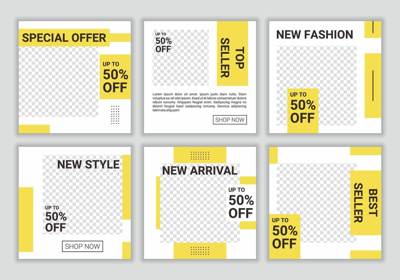 uppsättning färgglada sociala medier postmall, promo, rabatt, försäljning. redigerbara samlingsbakgrunder med gul och vit färgkombination. vektor illustration. vem som helst kan enkelt använda denna design.