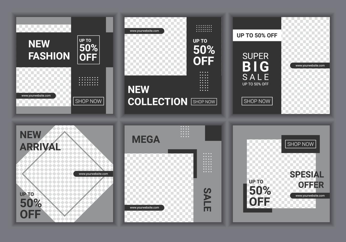 ställa in samling av fyrkantig banner mall. vit och gul bakgrundsfärg med randlinjeform. mode försäljning. reklam webb banner för sociala medier. vektor illustration med foto college