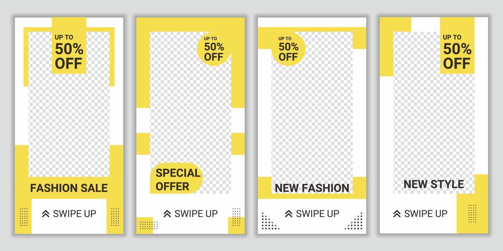 4 uppsättning mode försäljning post sociala medier mall. bakgrundsdesignlayout med ljusgul och vit färg. marknadsföring mode mode. vit och gul bakgrundsfärgformillustration vektor