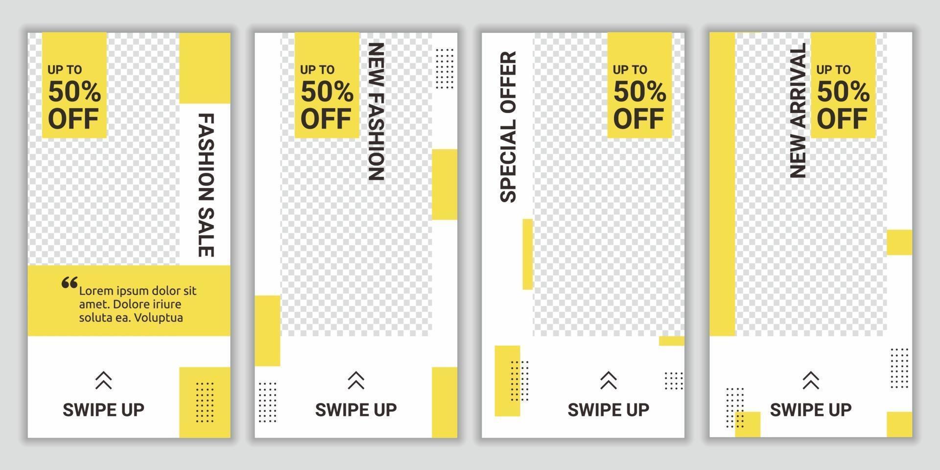 bunt mode försäljning sociala medier post historier för online shopping designmall. lämplig för sociala medier post mode stil digital marknadsföring. trendiga vektor försäljning och rabatt bakgrunder