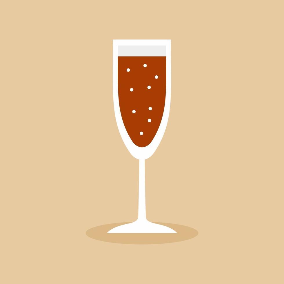 platt ikon ett glas alkoholhaltiga drycker. champagneflöjt smala glas fyllda med vin, konjak, cognac eller whisky. alkohol öl älskare koncept. enkel minimal vektorillustration vektor