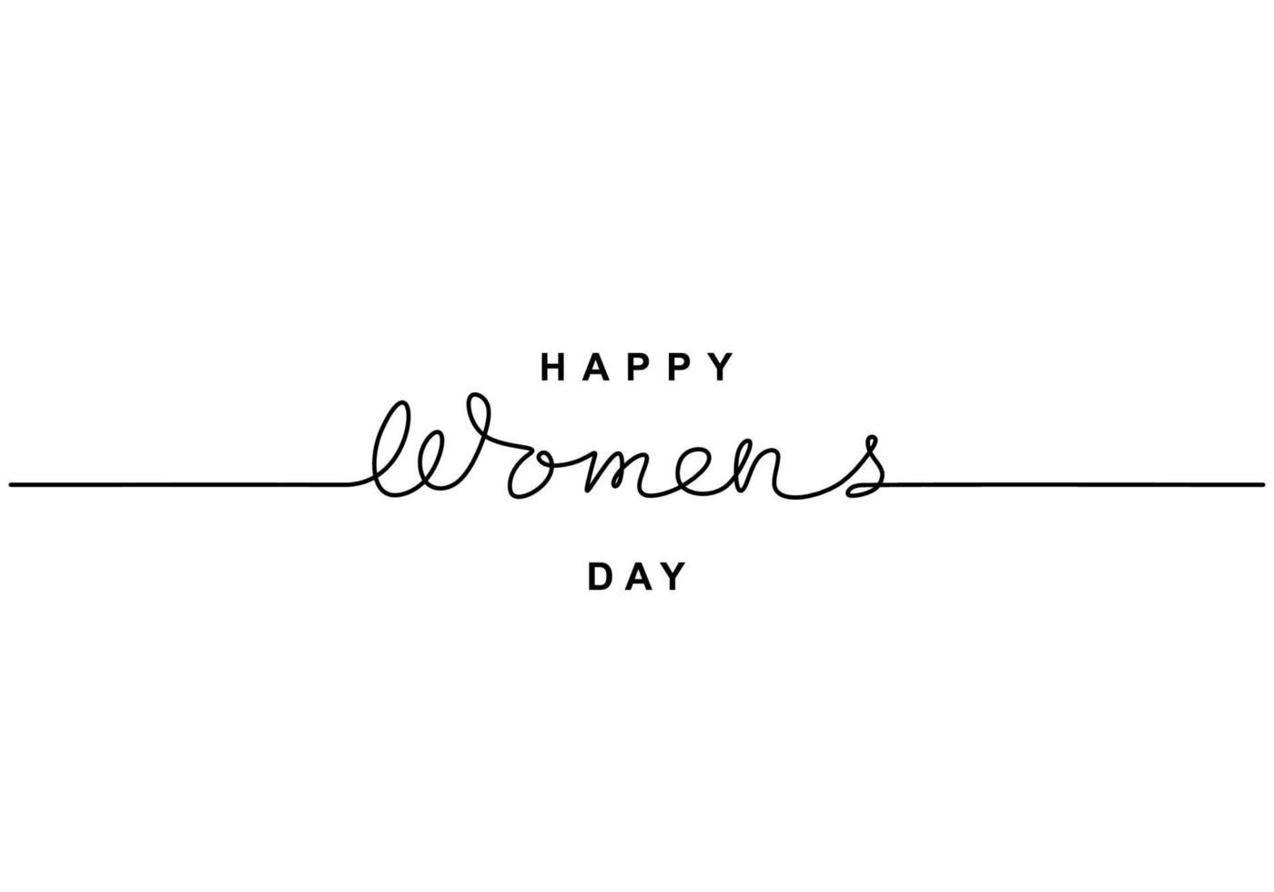 glückliche Frauentagsbeschriftung in fortlaufender Strichzeichnung. Internationaler Frauentag am 8. März. Konzept Frauentag isoliert auf weißem Hintergrund. Vektor handgemachte kalligraphische für Grußkarte