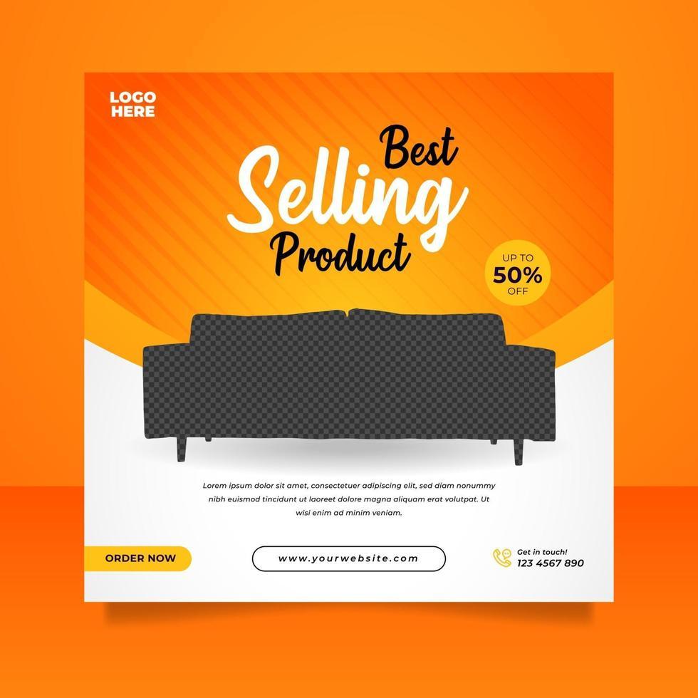 kreativa möbler försäljning banner eller sociala medier post mall vektor