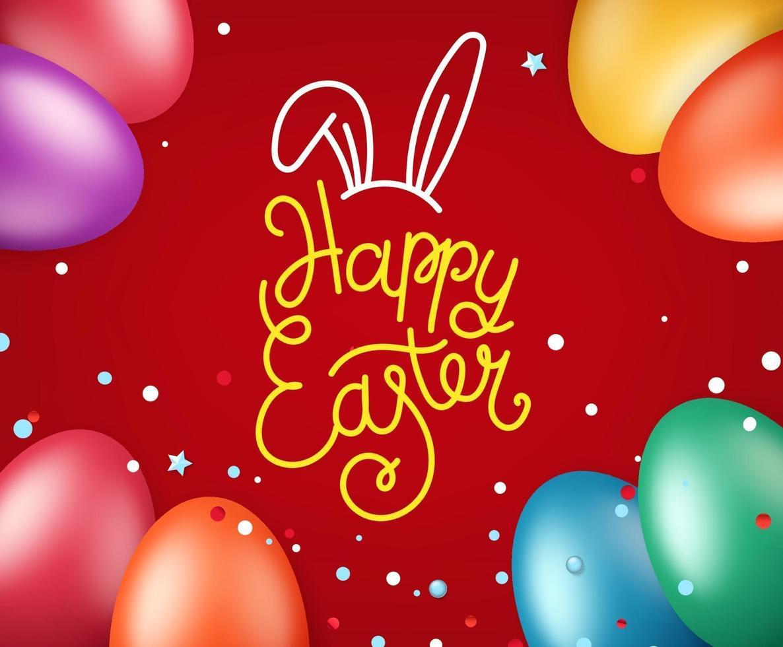 glad påsk gratulationskort. vektorillustration med semesterelement vektor