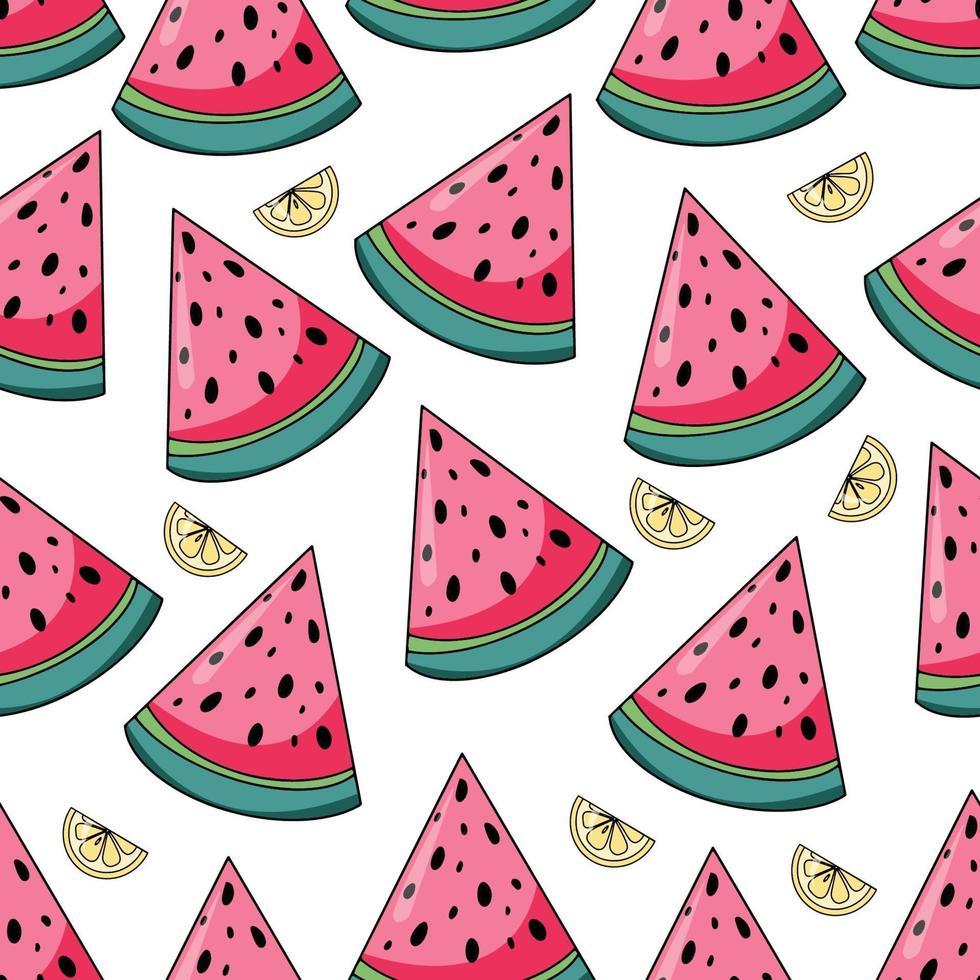 nahtloses Muster der Sommerwassermelone und der Zitronen auf weißem Hintergrund vektor