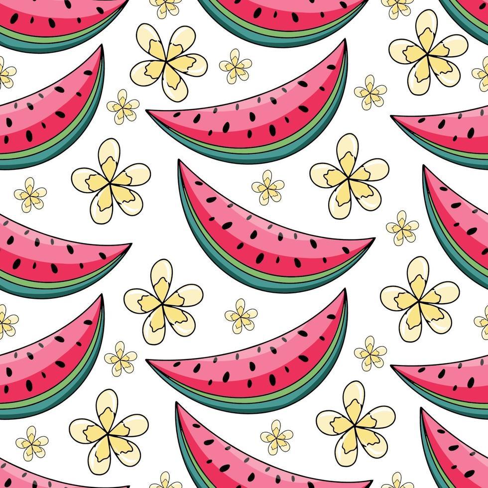 sommarvattenmelon och gula blommor sömlösa mönster på vit bakgrund. vektorillustration för textiltryck, tapeter, modedesign vektor