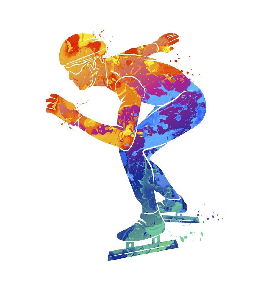 abstrakta hastighetsåkare från stänk av akvareller. vektor illustration av färger
