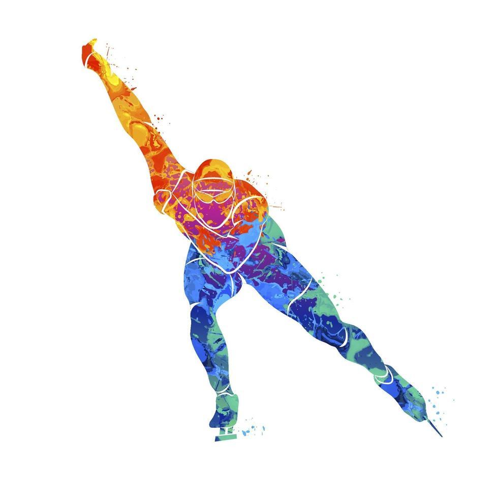 abstrakta hastighetsåkare från stänk av akvareller. vintersport. vektor illustration av färger