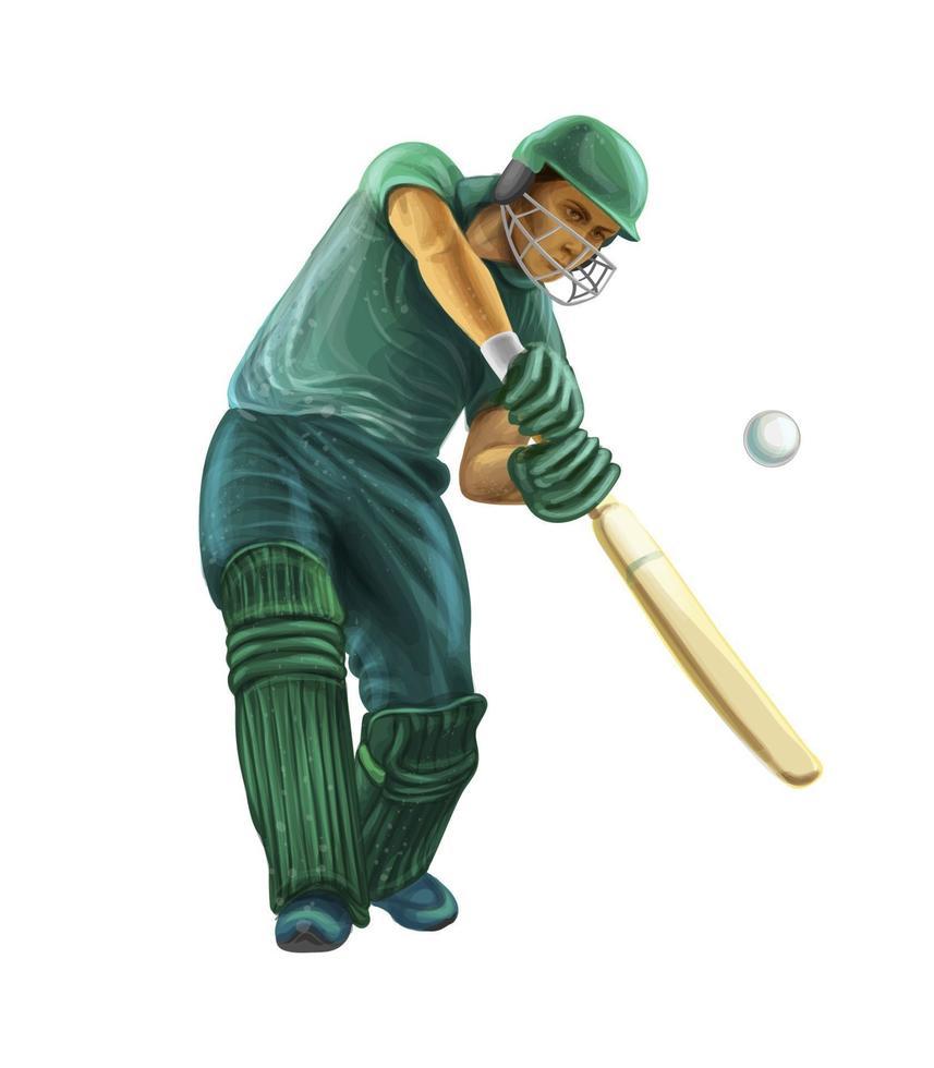 Schlagmann spielt Cricket. Vektor realistische Darstellung von Farben