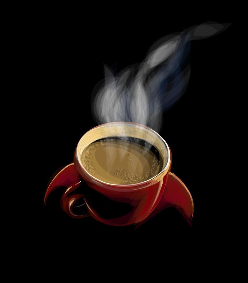 röd kopp kaffe med rök på en svart bakgrund. vektor illustration av färger