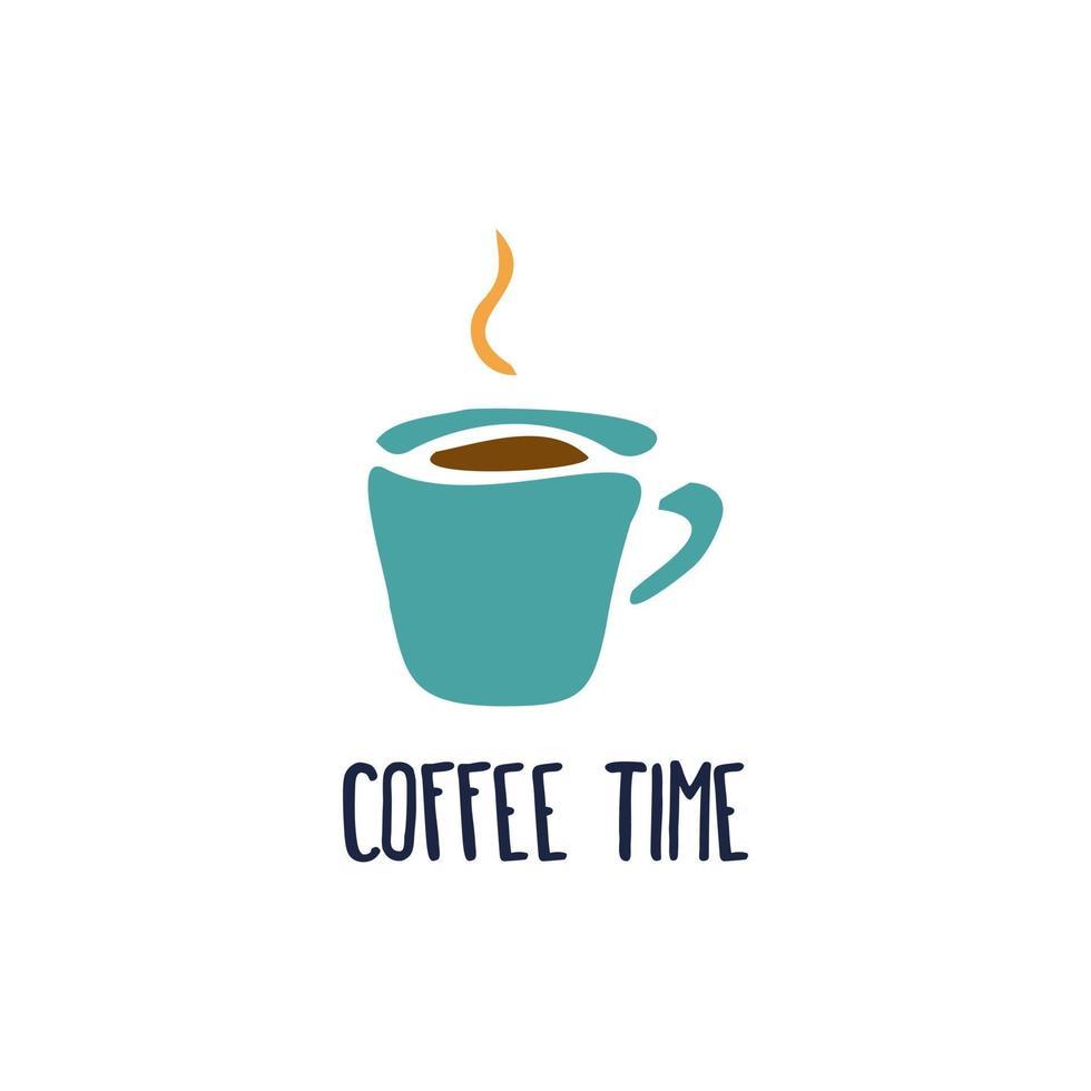 kaffekopp på en vit bakgrund med inskriptionen kaffe tid, mugg siluett, ikon, logotyp, vykort vektor