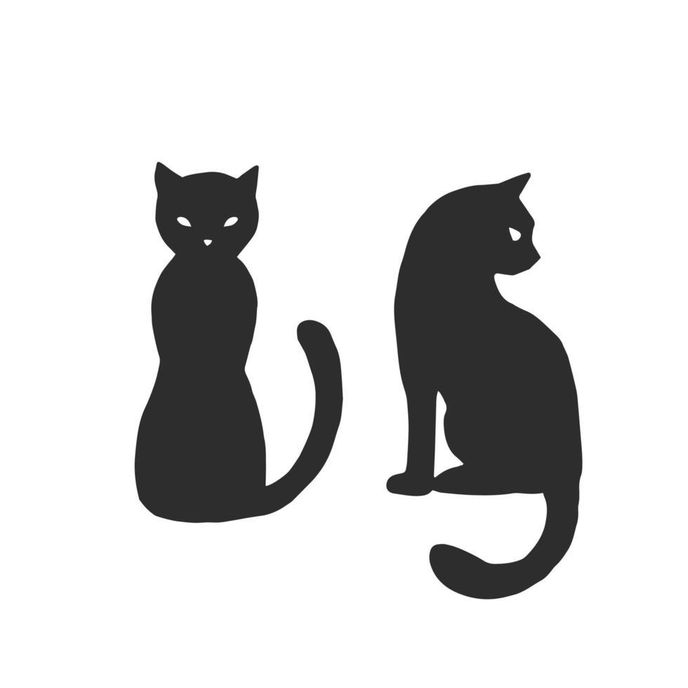 magisk katt - linjär vektorillustration. handritade magiska verktyg, begrepp av häxkonst. häxans hatt är ett element för en målarbok. översikt. halloween illustration. vektor