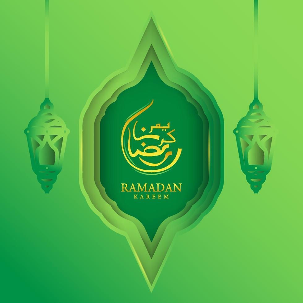 grönt gratulationskort ramadan kareem designvektor vektor