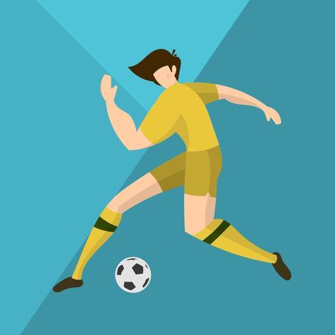 Flat Australia Soccer Player Förbered dig för att skjuta vektor illustration