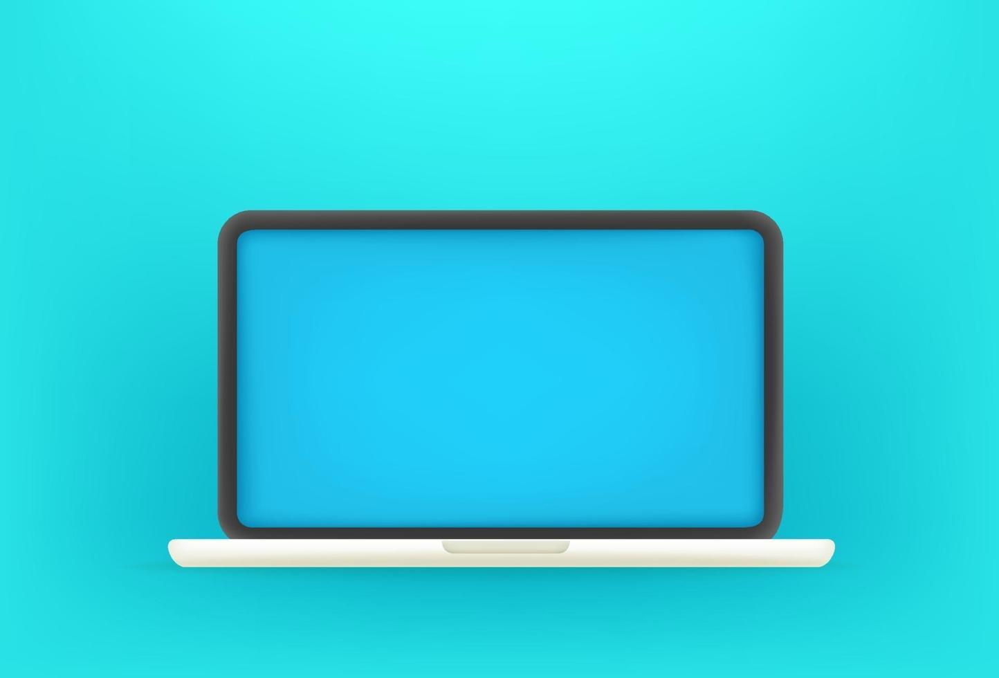 moderner Laptop mit blauem Bildschirm. Niedliche Vektorillustration des 3D-Stils vektor