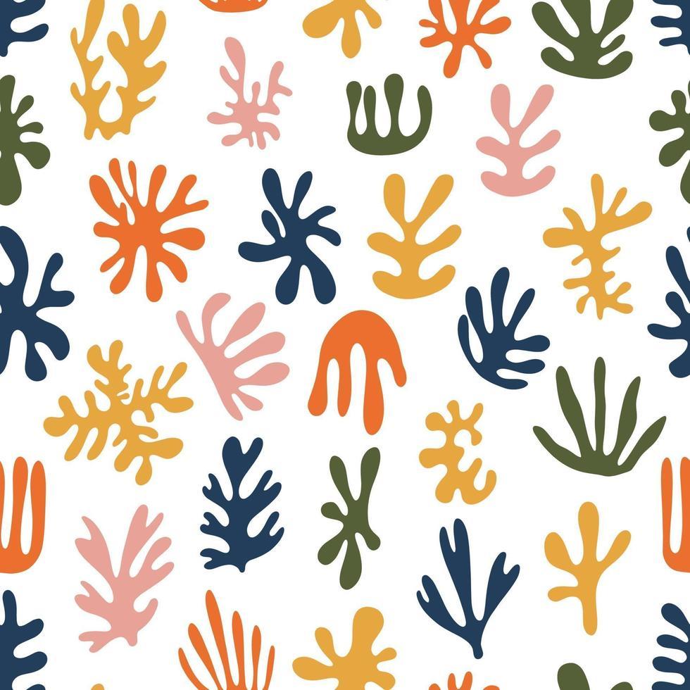 trendiga samtida uppsättning abstrakta geometriska minimalistiska konstnärliga handmålade alger sömlösa mönster. vektor