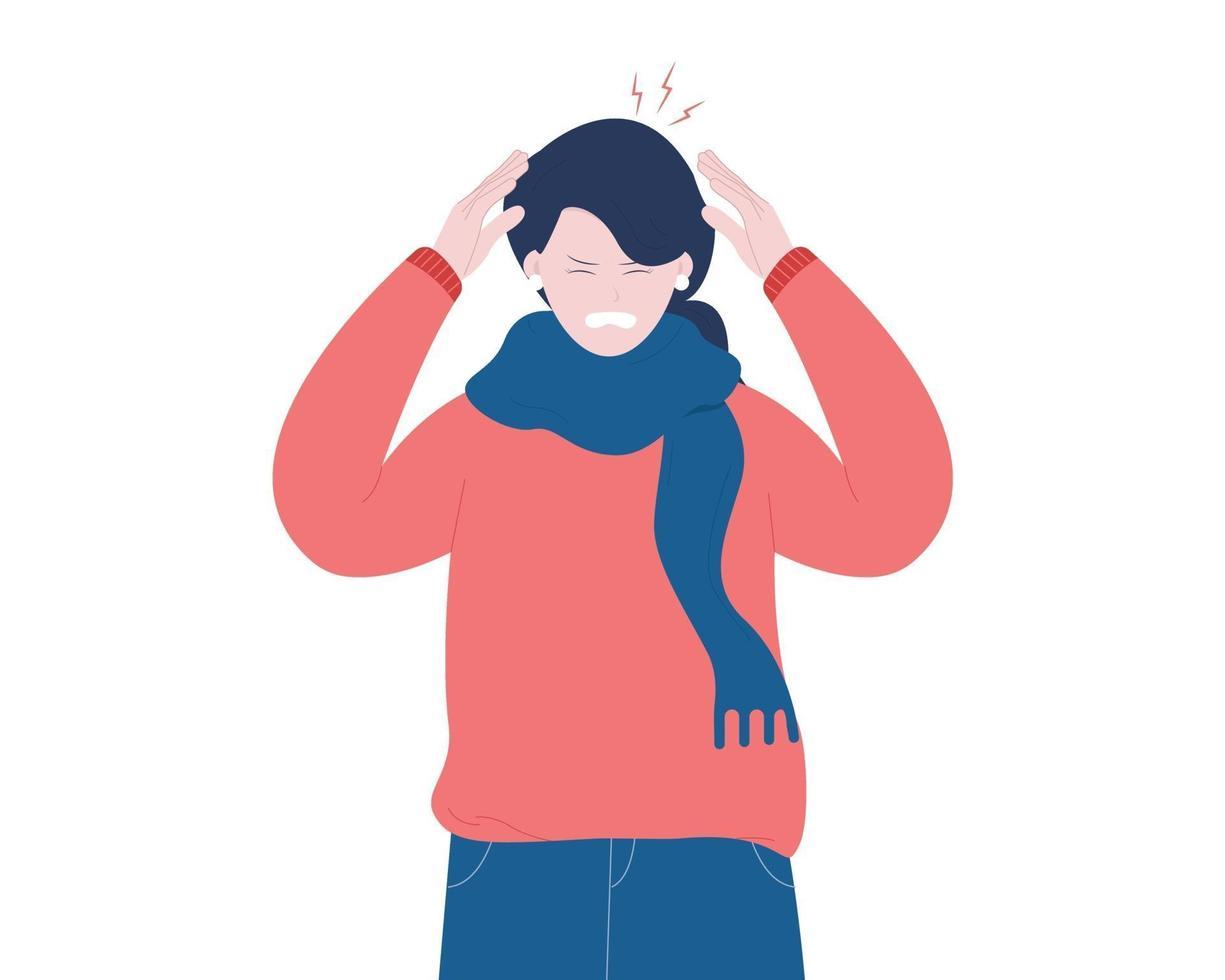 kvinna med huvudvärk, yrsel eller yrsel. vektor