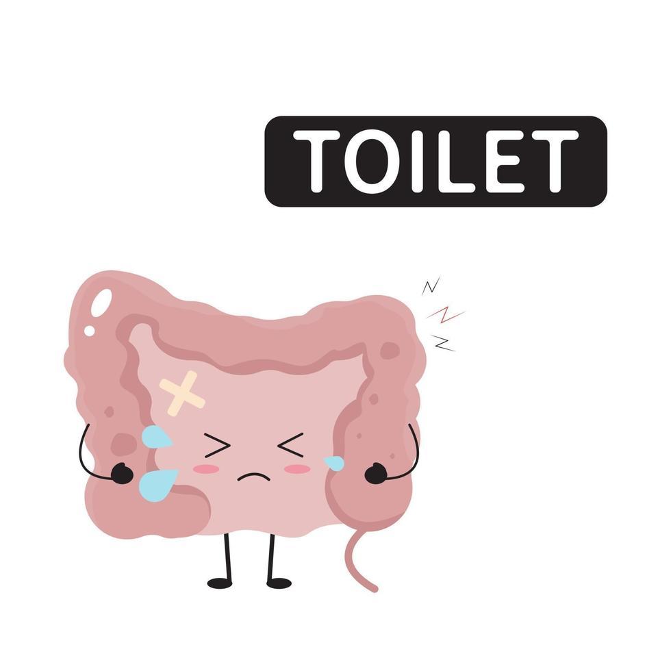 sjuka kawaii tarmar för diarré och koncept för irritabel tarm vektor