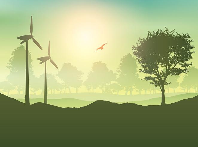 Windturbinen und Baumlandschaft vektor