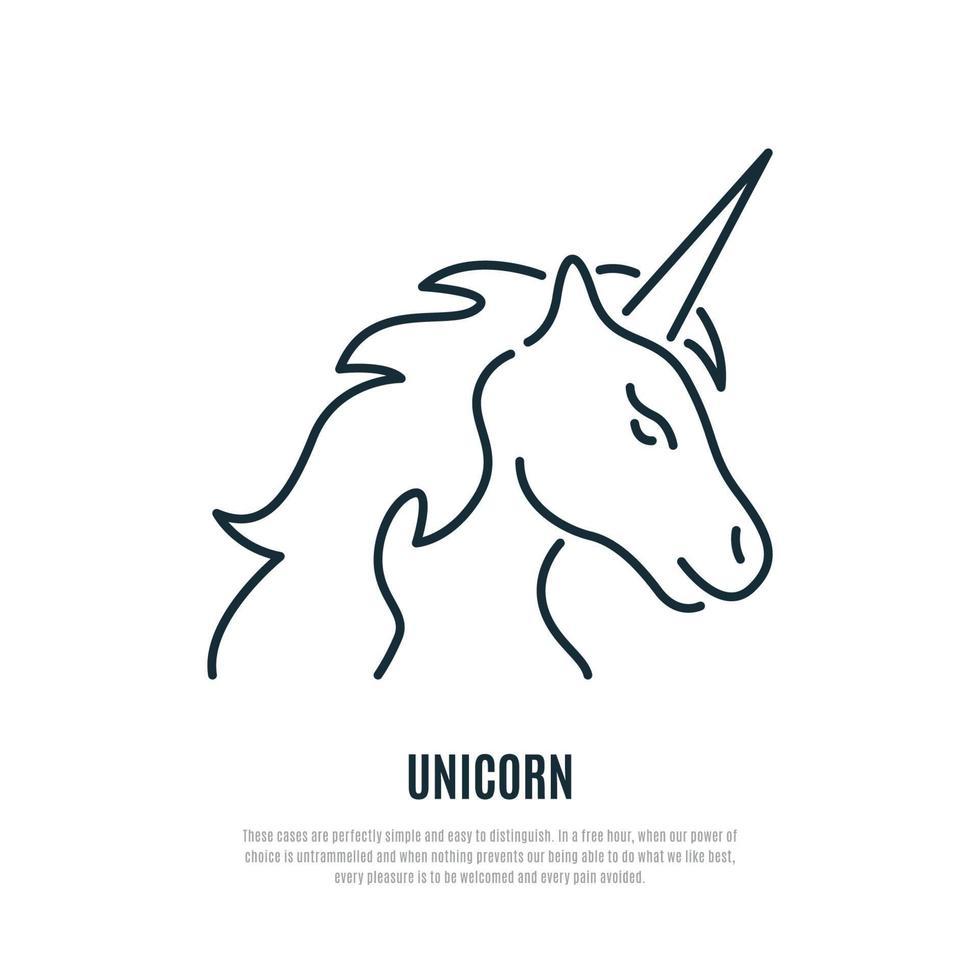 enhörning linje ikon. magiskt djur symbol. liner stil. vektor