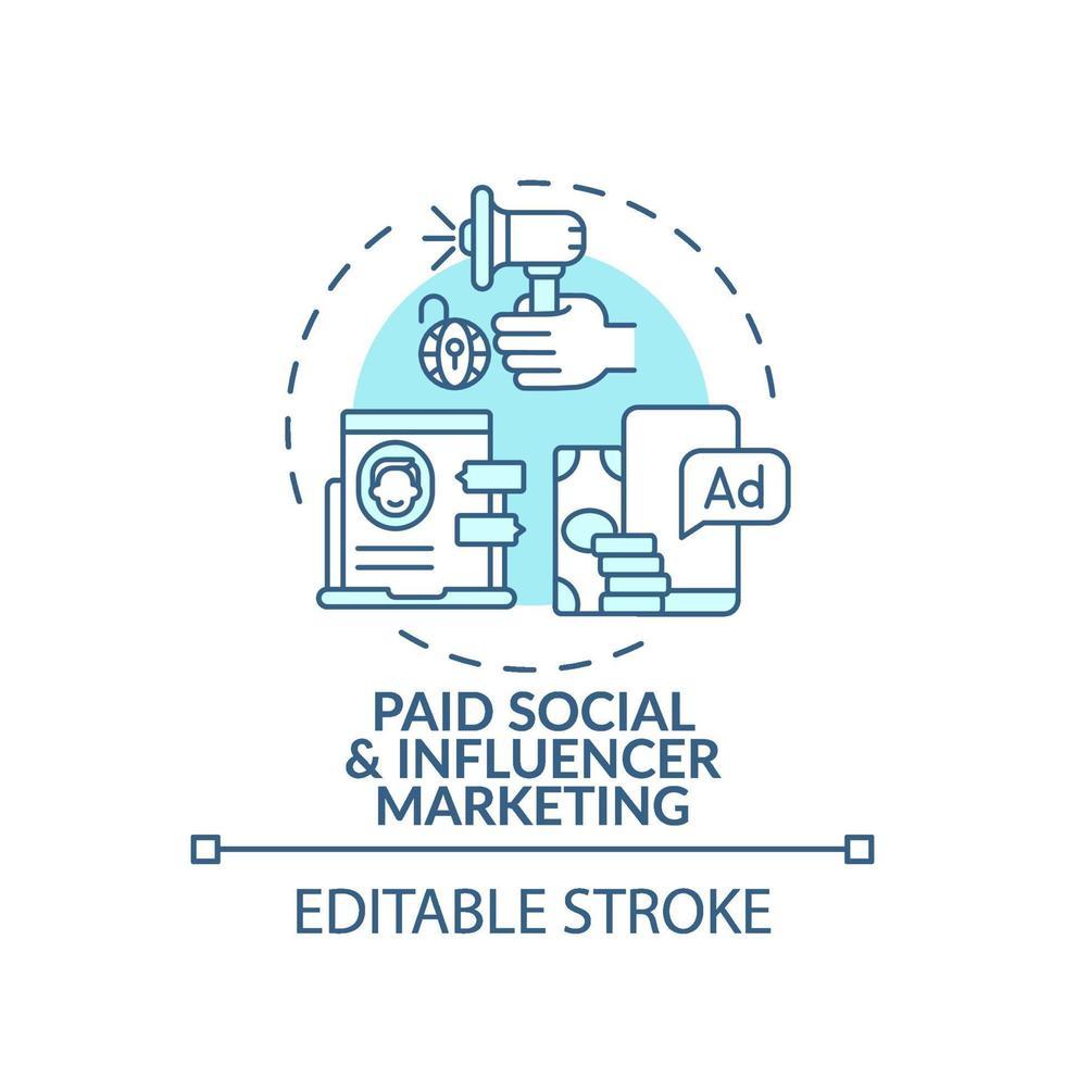 betald social och influencer marknadsföring koncept ikon vektor