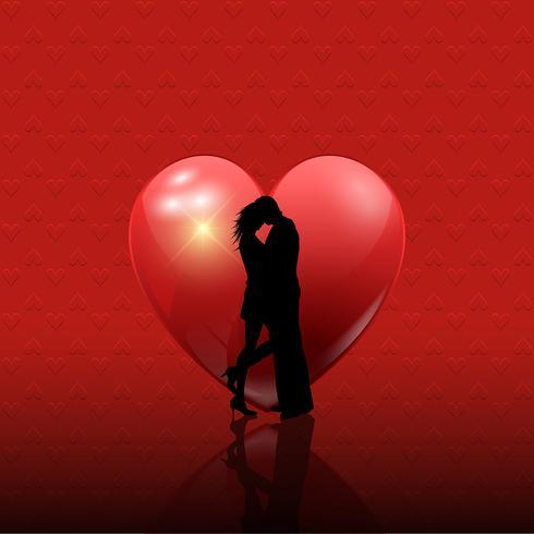 Die Paare des Valentinsgrußes auf Herzhintergrund vektor