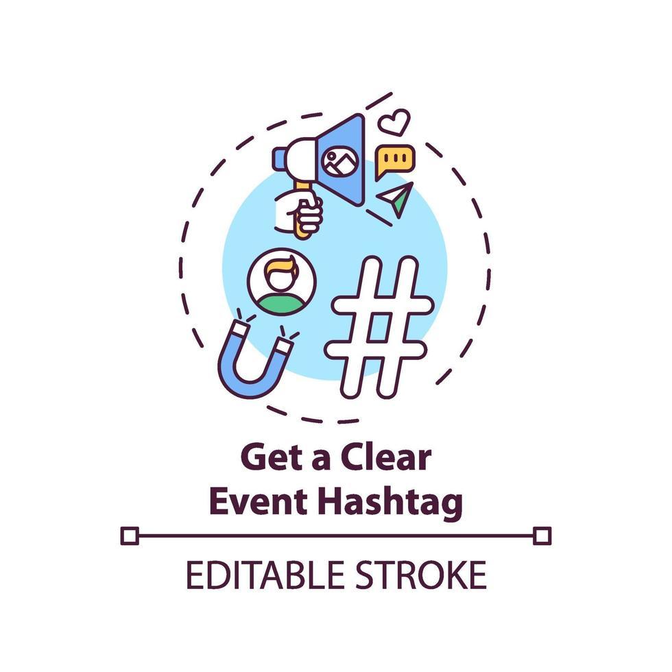 få tydlig händelse hashtag koncept ikon vektor