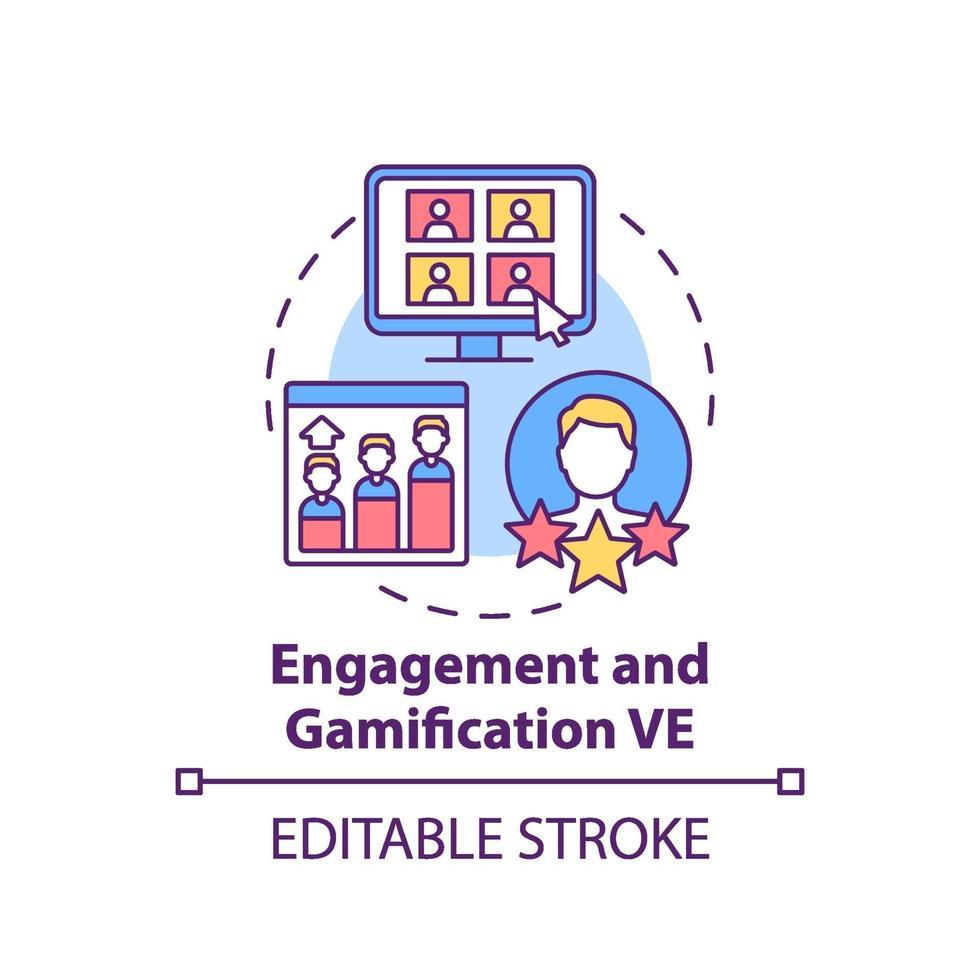 engagemang och gamification ve koncept ikon vektor