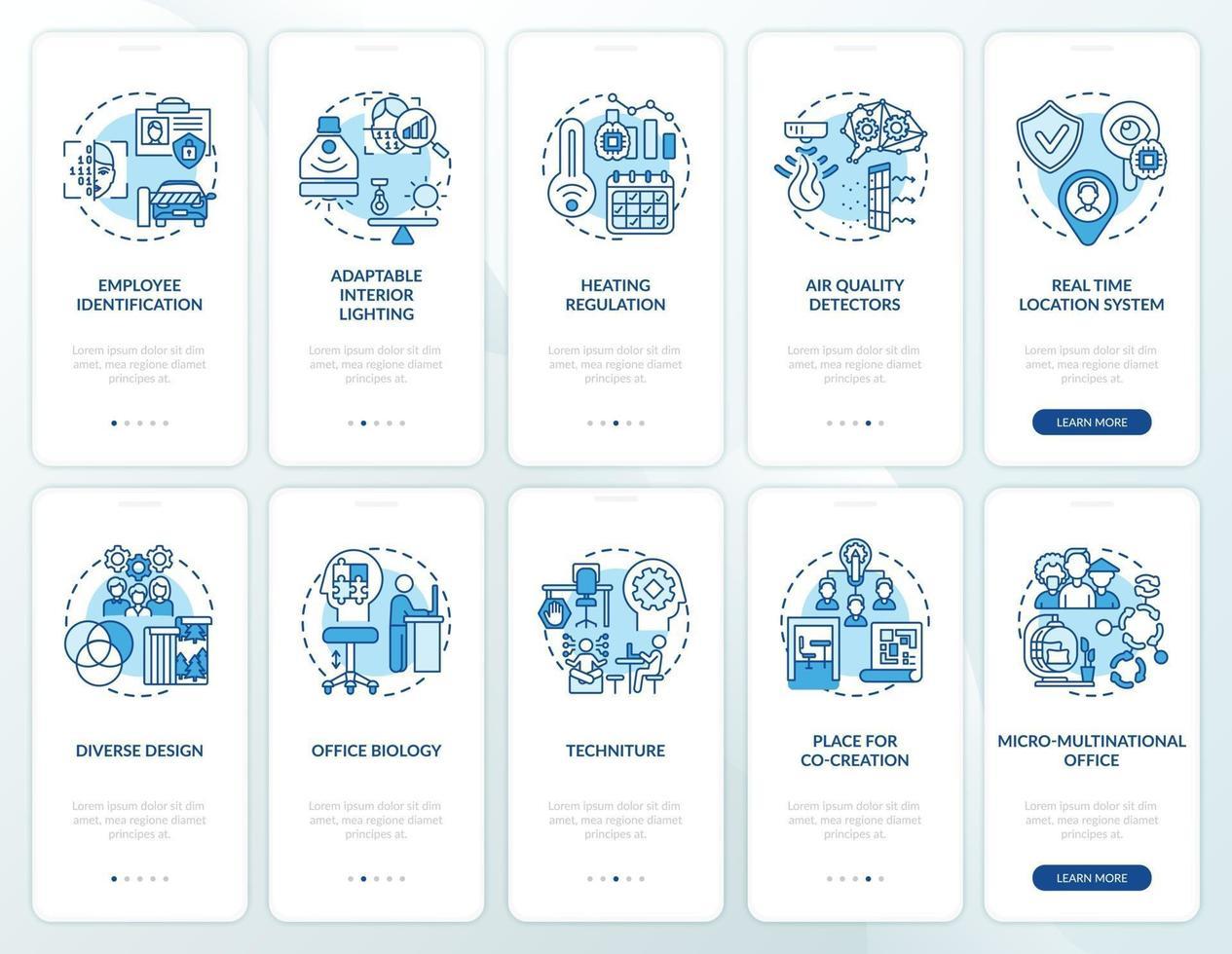 smart kontorsplanering ombord mobilappsskärm med begrepp vektor