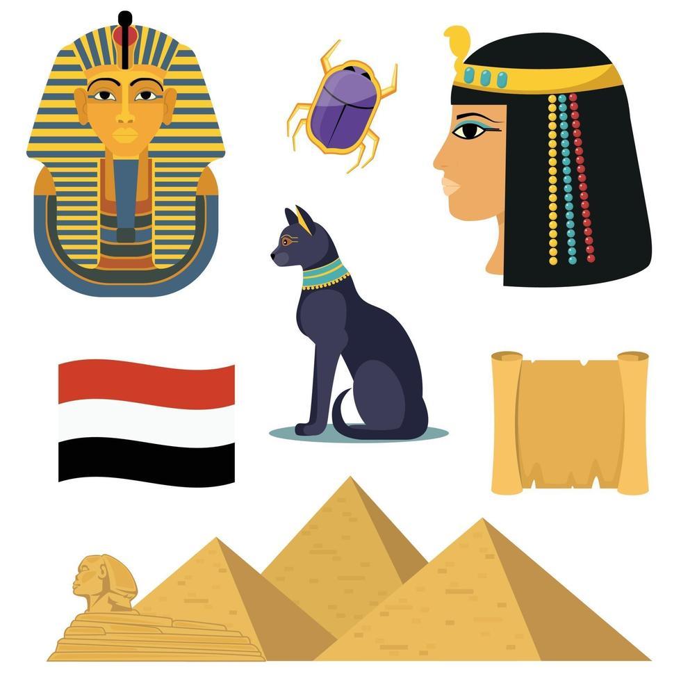 Egypten ikoner set vektor