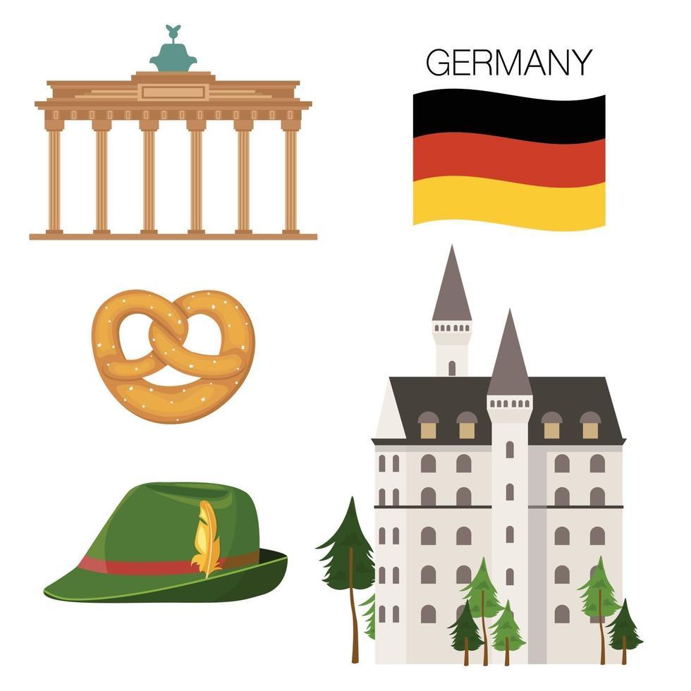 Tyskland ikoner set vektor