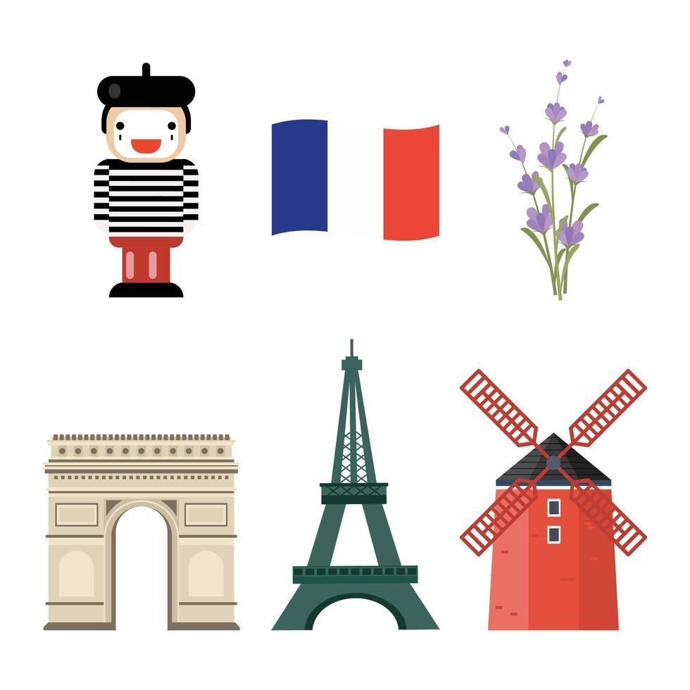 Frankrike ikoner set vektor