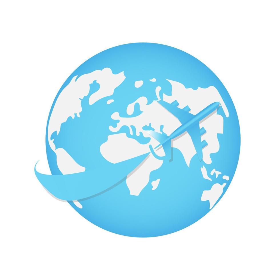 flygplan flyger runt om i världen. transport eller turism vektor koncept illustration. flygvektor isolerad och utskrivbar.