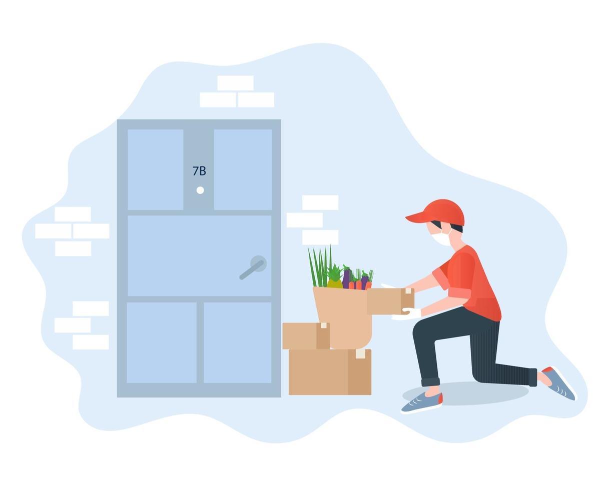 kontaktlös leverans koncept vektorillustration. handla. hälsosam mat säker leverans. mannen levererar beställning via internet. vektor