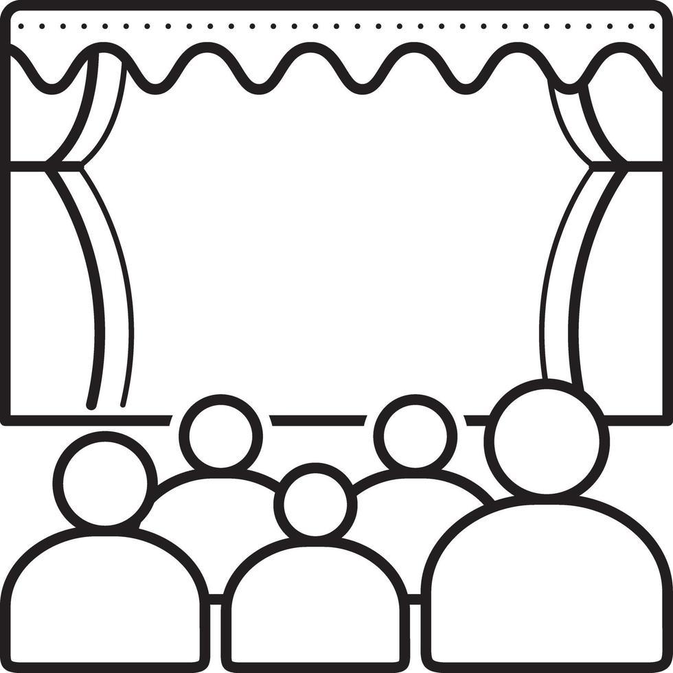 linje ikon för teater vektor