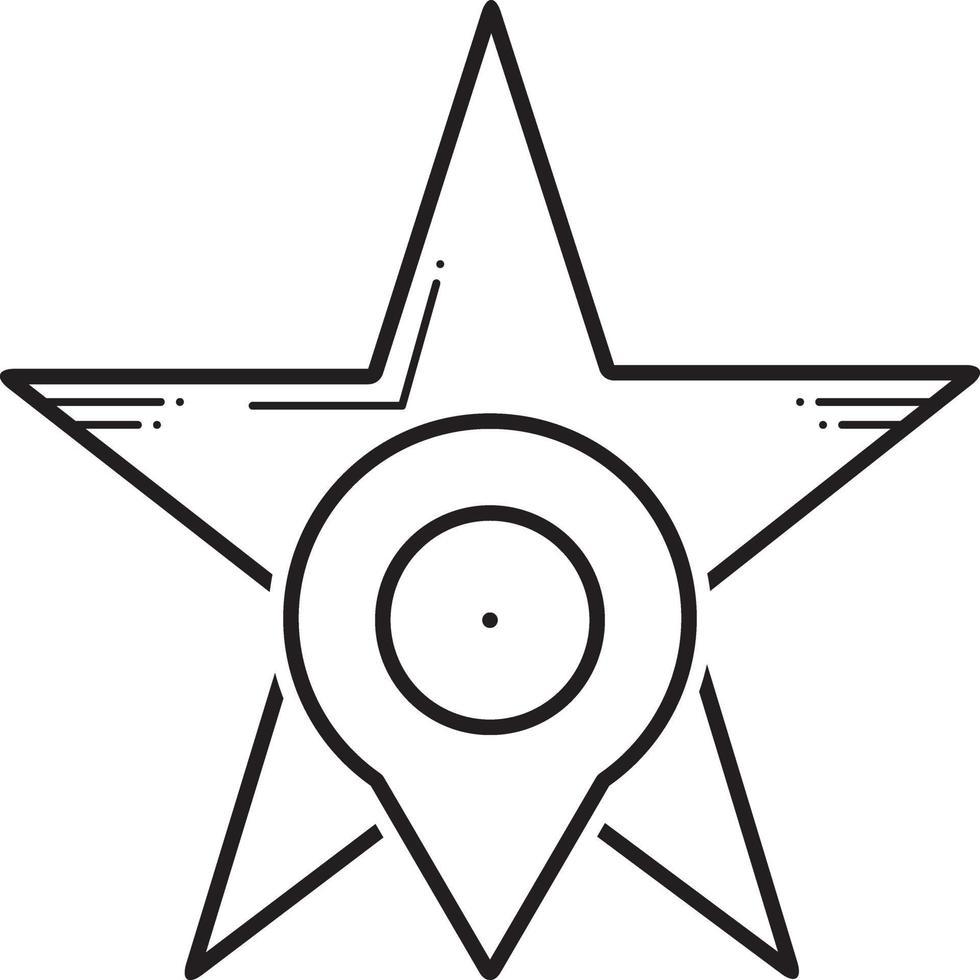 linje ikon för stjärnmärkta vektor