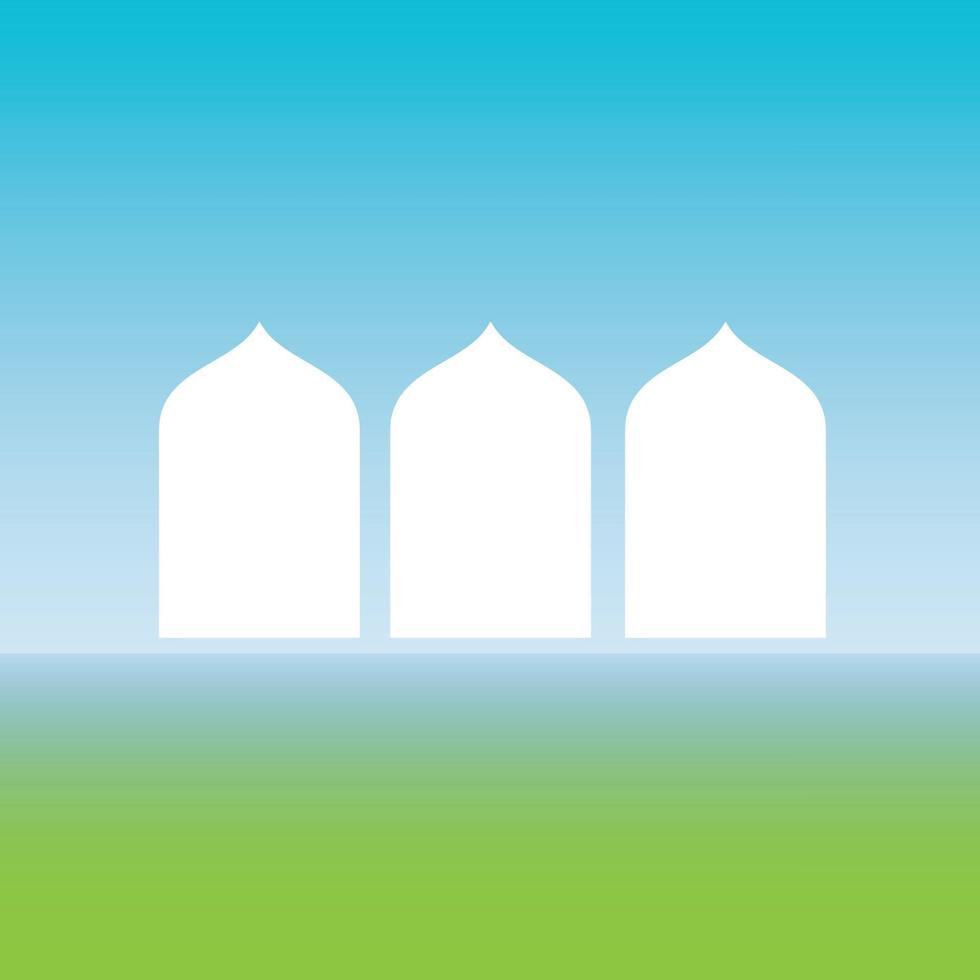 silhuetten av moskén ovanför den gröna jorden och under bilden för blå himmel vektor