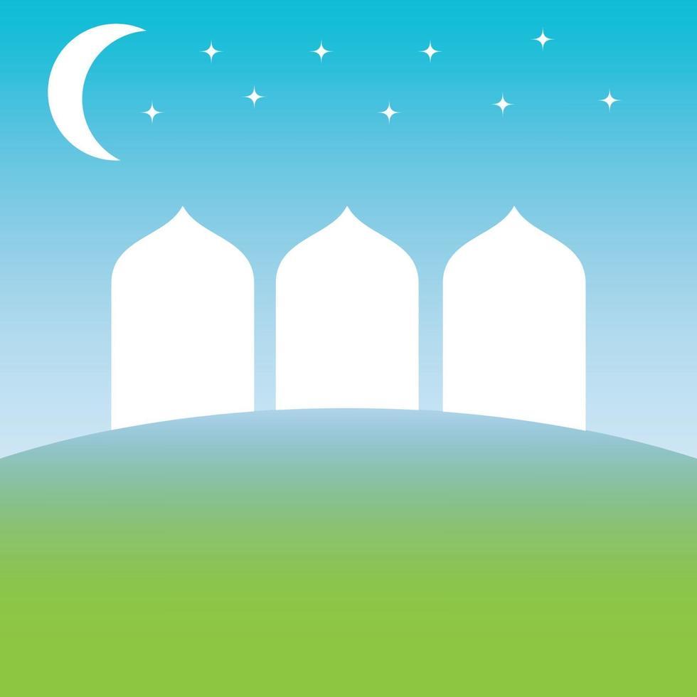 silhuetten av moskén ovanför den gröna jorden och under vektorbilden för blå himmel vektor