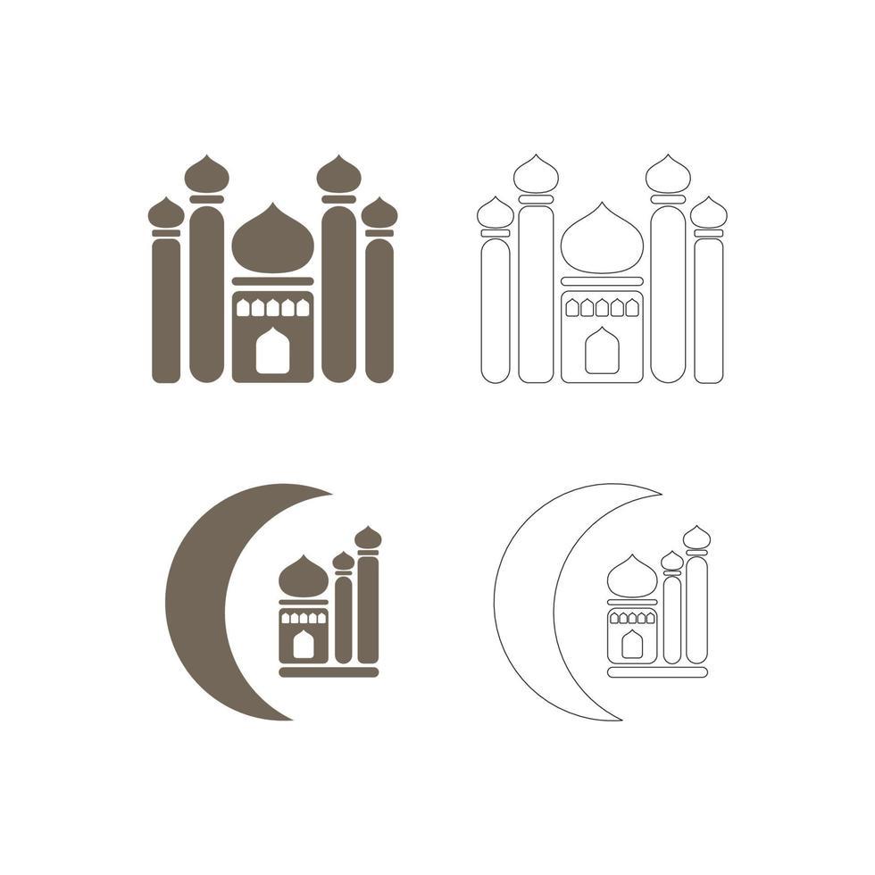 ange ikon för moskéfyllning och linje vektorbild vektor