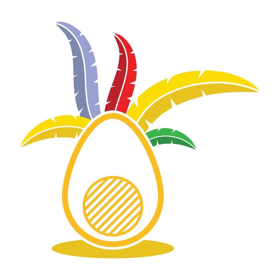ägg och färgglada fjäder prydnad vektorbild vektor